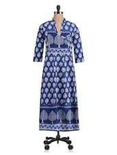 Navy Blue Printed Anarkali Cotton Kurti - By