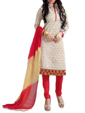 Beige Embroidered Chanderi Printed Unstitched Suit Set - By