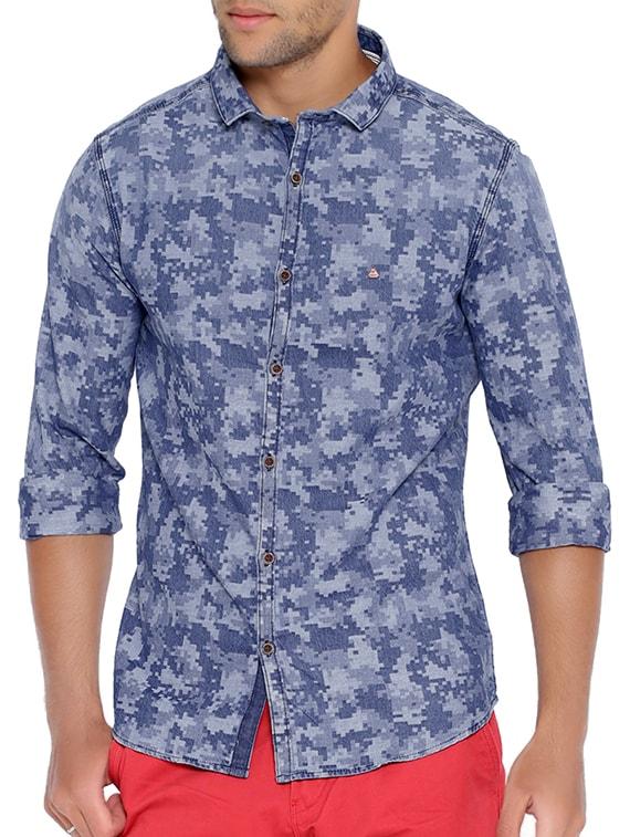 blue denim printed casual shirt