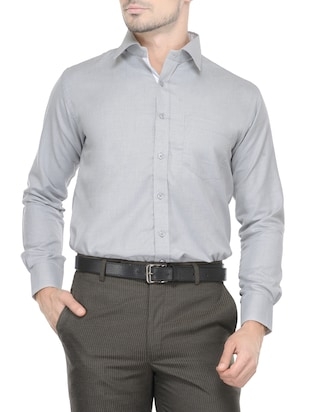 grey cotton formal shirt -  online shopping for formal shirts