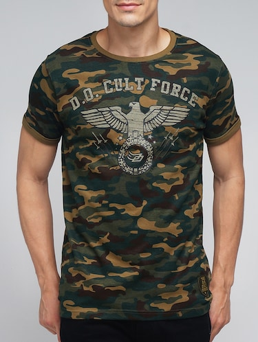 green cotton camouflage printed t-shirt - 12984871 - Standard Image - 1