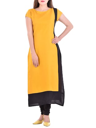 yellow rayon Long kurta -  online shopping for kurtas