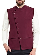 solid burgundy cotton nehru jacket -  online shopping for Nehru Jacket