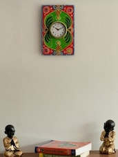 Pink Wooden Embellished Embossed Artistic Wall Clock - By
