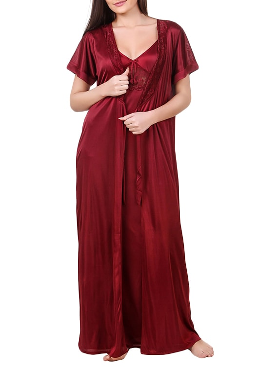 Buy Red Satin Night Gowns   Wrap Gown Combo by Fasense - Online shopping  for Gowns   Kimonos in India  d1aabc486dfb