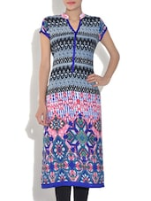 Blue Georgette Printed Mega Sleeve Straight Fit Kurta - By