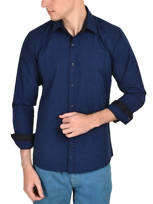 blue cotton checked casual shirt - 12993215 - Standard Image - 1