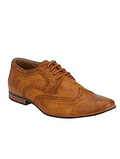 tan leatherette lace up derby -  online shopping for Derbies
