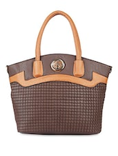 Brown And Tan Leatherette Textured Handbag - By
