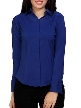 blue cotton regular shirt - online shopping for Shirts ed20f1acd