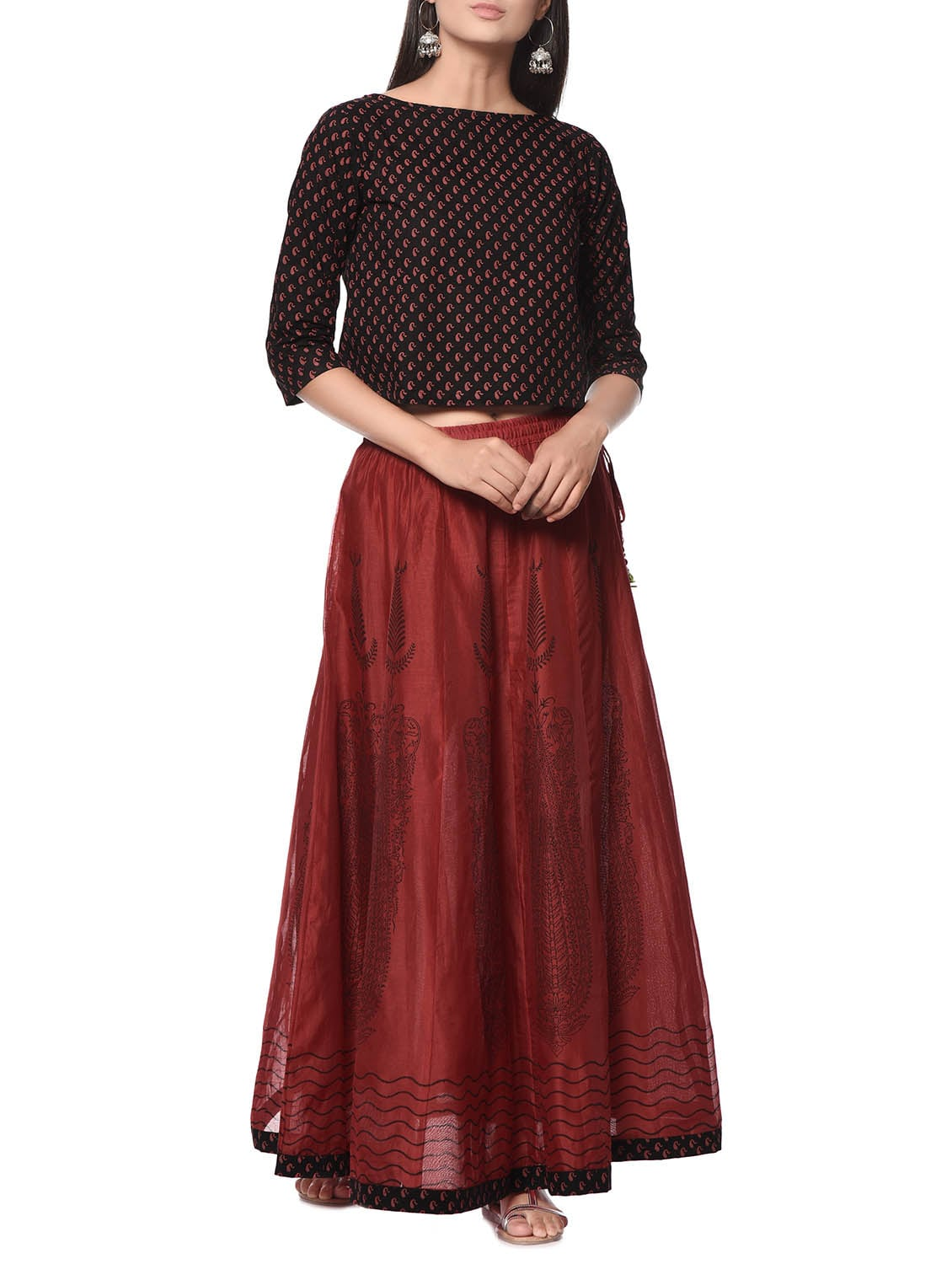 7d9cfb0c484 Red And Black Chanderi Silk Skirt And Top Set
