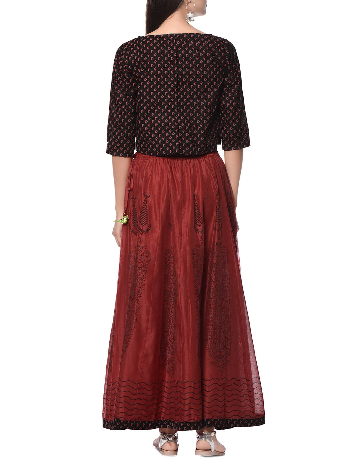 649db05a1158 Red And Black Chanderi Silk Skirt And Top Set
