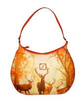 Orange Printed Hobo Bag - By