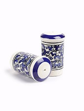 Blue Ceramic Salt And Pepper Set Of Two - By