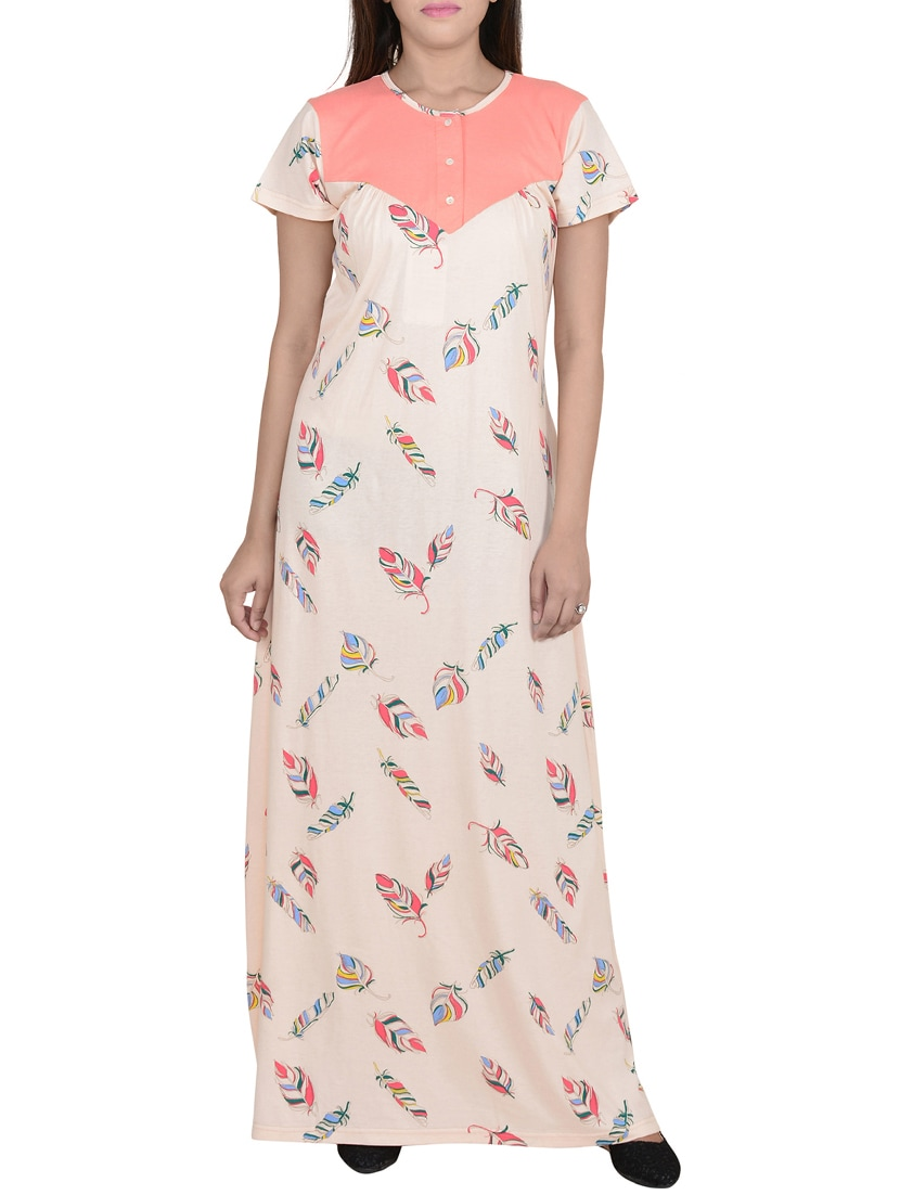 75eac9c8a3 Buy Pink Cotton Nighty by 9teenagain - Online shopping for Sleepshirts    Nighties in India