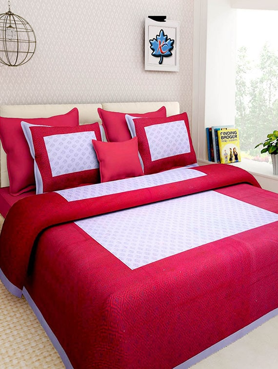 1c4073a60e2f Gangaur Fashion Red Colour Ethnic Print 1 Double Bed Sheet With 2 Zipper  Pillow Covers