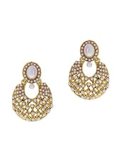 Gold and white pearl embellished earrings -  online shopping for Sets
