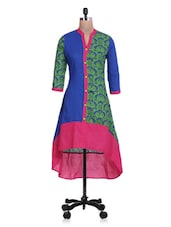 Printed Royal Blue And Green Asymmetrical Cotton Kurta - By