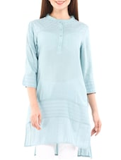 Solid Blue Cotton Tunic With Cutwork - By