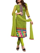 Green Embroidered Chanderi Cotton Semi-Stitched Salwar Suit Set - By