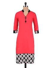 Red Cotton Bottom Embroidered Kurti - By