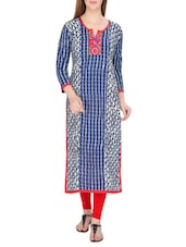 Blue Cotton Embroidered Long Kurta - By