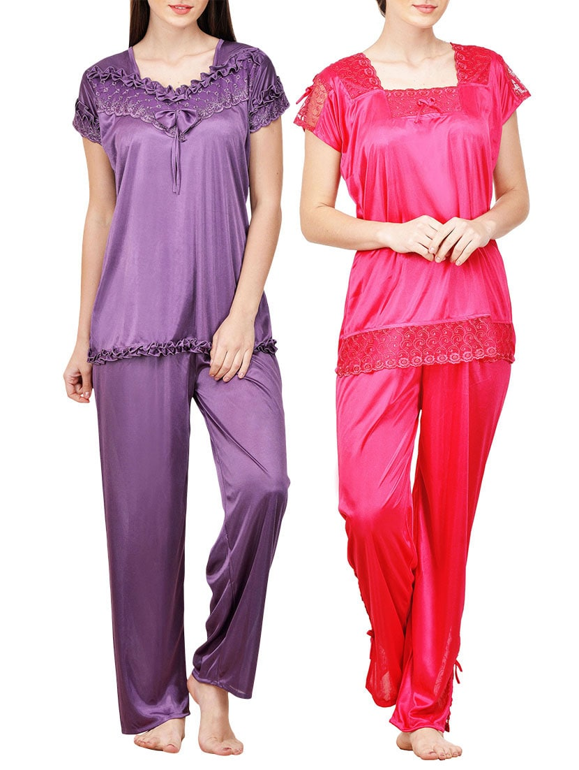 92de0c81d36 multicolored satin nightwear sets