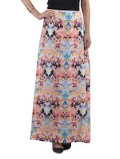 Multi Poly Crepe Printed Maxi Skirt - By