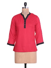 Solid Red Rayon Top - By