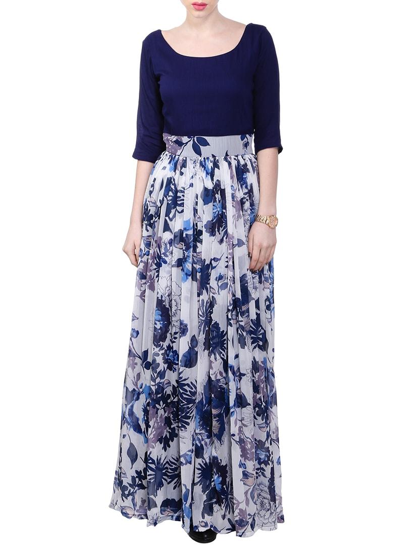2f6a11bc44 Navy Blue Printed Chiffon Dress