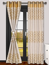 MISTA Set Of 2 Gold & Beige Jacquard Weaved Polyester Eyelet Curtains - By
