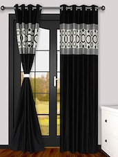 MISTA Set Of 2 Black & Cream Solid Jacquard Weaved Polyester Eyelet Curtains - By