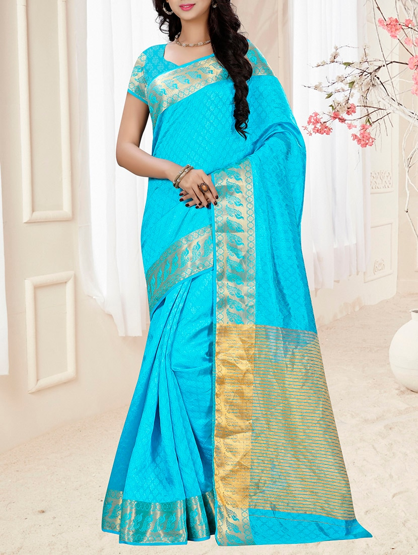 9309a94a07096b Buy Sky Blue Woven Cotton Silk Saree With Blouse by Thankar - Online  shopping for Sarees in India