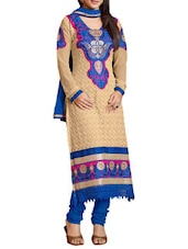 Beige And Blue Embroidered Georgette Unstitched Suit Set - By