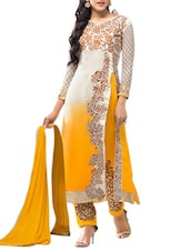 Cream And Yellow Embroidered Georgette Unstitched Suit Set - By