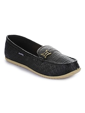 Black Synthetic Slip On Loafers - By
