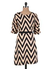 Black And Beige Polycrepe Printed Dress - By
