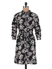 Black Polycrepe Printed Shirt Dress - By