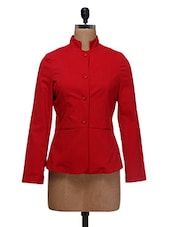 Red Twill Lycra Solid  Jacket - By