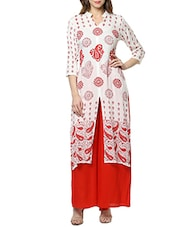 White Rayon Long  Kurta - By