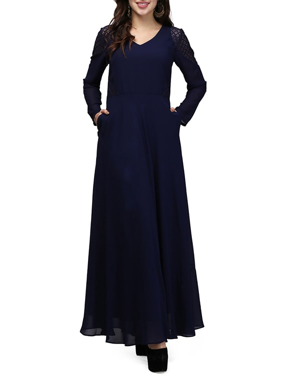 Buy Navy Blue Georgette Gown By Vm Online Shopping For Dresses In