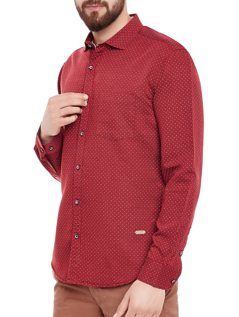 456cce7fc9d Buy Red Linen Polka Dots Casual Shirt by Taanz - Online shopping for Casual  Shirts in India