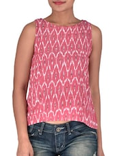 Brick Red Printed Sleeveless Cotton Top - By