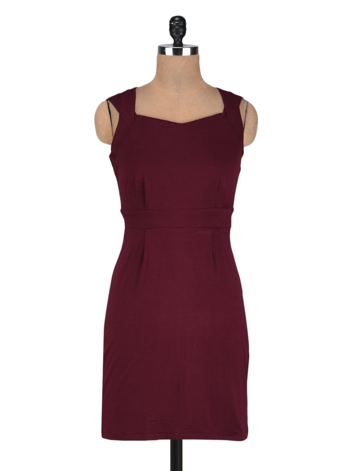 Red Poly Spandex Knit  Bodycon Dress With Back Cut Outs - By