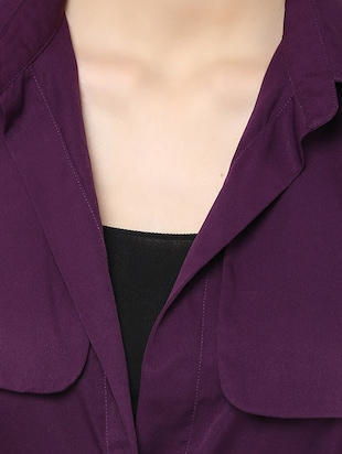 purple crepe summer jacket - 13065169 - Standard Image - 4