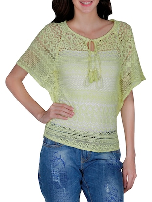 green lacy top -  online shopping for Tops