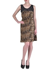 Brown Polyester Printed Party Wear Dress - By