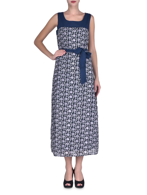Blue Georgette Printed Party Wear Dress - By