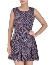 Navy Blue Multi Printed Georgette Dress - By