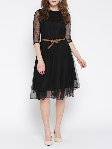 black net fit & flare dress - 13073861 - Standard Image - 1